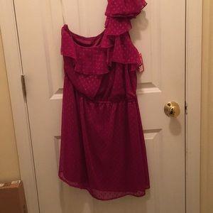 One Shoulder Pink Polka Dot Dress